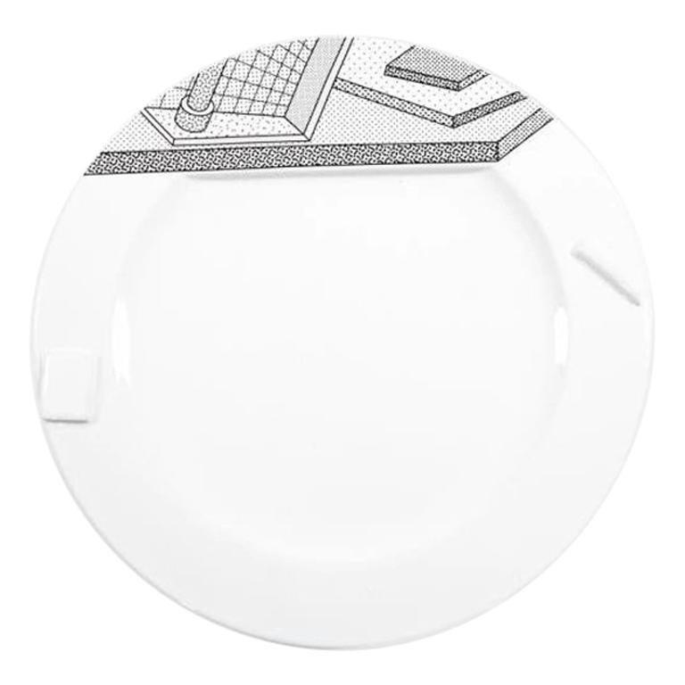 Lettuce White Ceramic Dinner Plate, by Ettore Sottsass from Memphis Milano