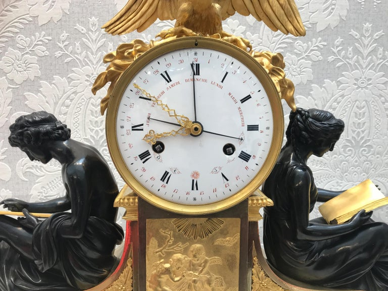 French L'Etude et La Philosophie Louis XVI Ormolu Mantel Clock For Sale
