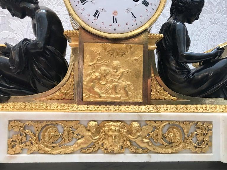 L'Etude et La Philosophie Louis XVI Ormolu Mantel Clock In Good Condition For Sale In Vancouver, BC