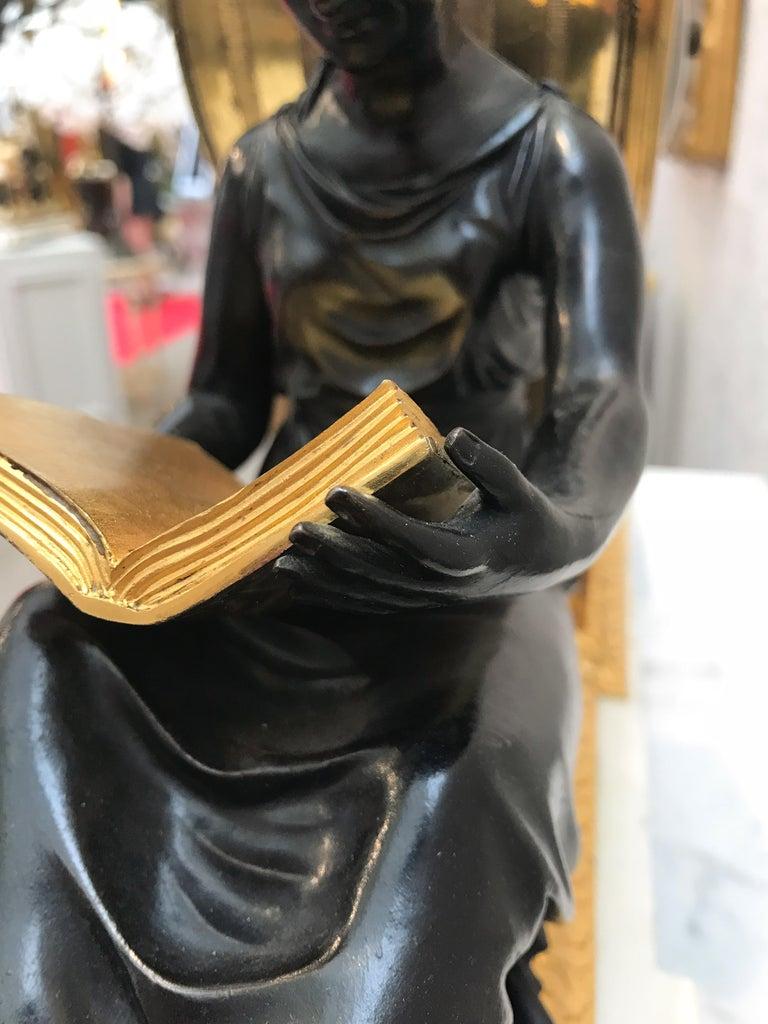 Bronze L'Etude et La Philosophie Louis XVI Ormolu Mantel Clock For Sale