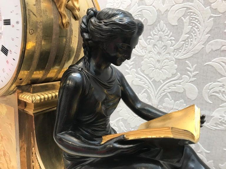 L'Etude et La Philosophie Louis XVI Ormolu Mantel Clock For Sale 2