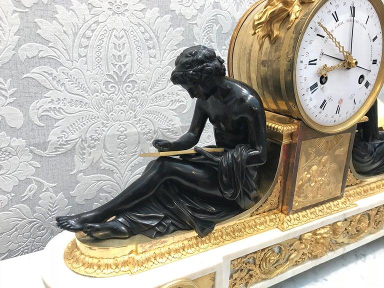 L'Etude et La Philosophie Louis XVI Ormolu Mantel Clock For Sale 3