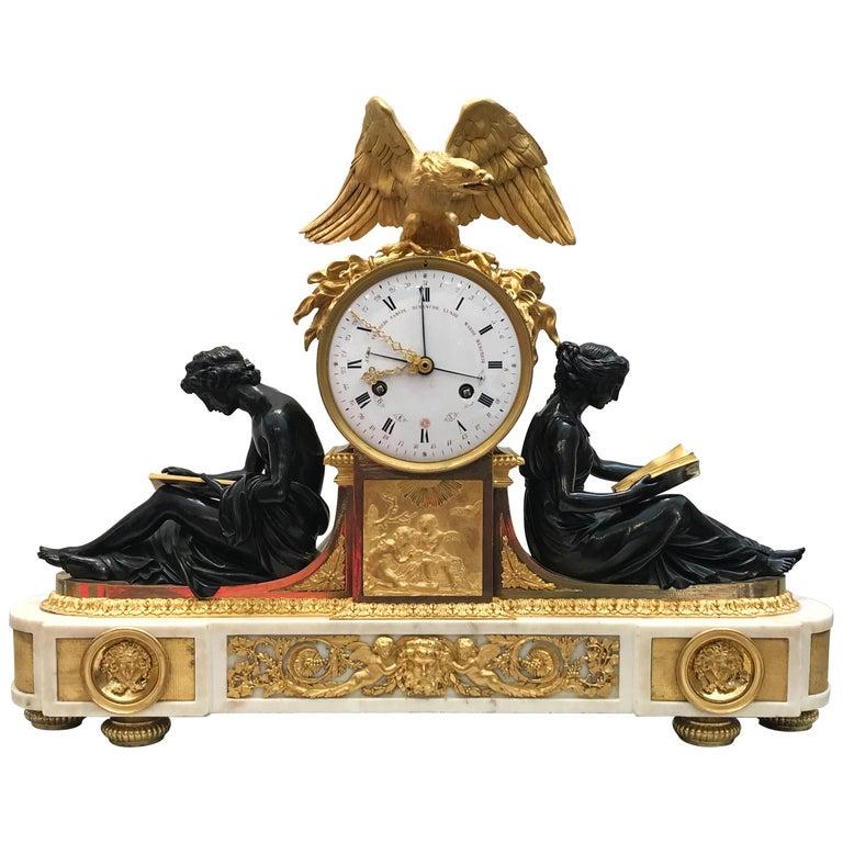 L'Etude et La Philosophie Louis XVI Ormolu Mantel Clock For Sale