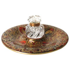 Leuchars & Sons Brass Inlaid Boulle Inkstand with Spiral Crystal Inkwell
