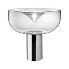 Leucos Aella 1968 T LED Table Light in Transparent and Chrome by Toso & Massari