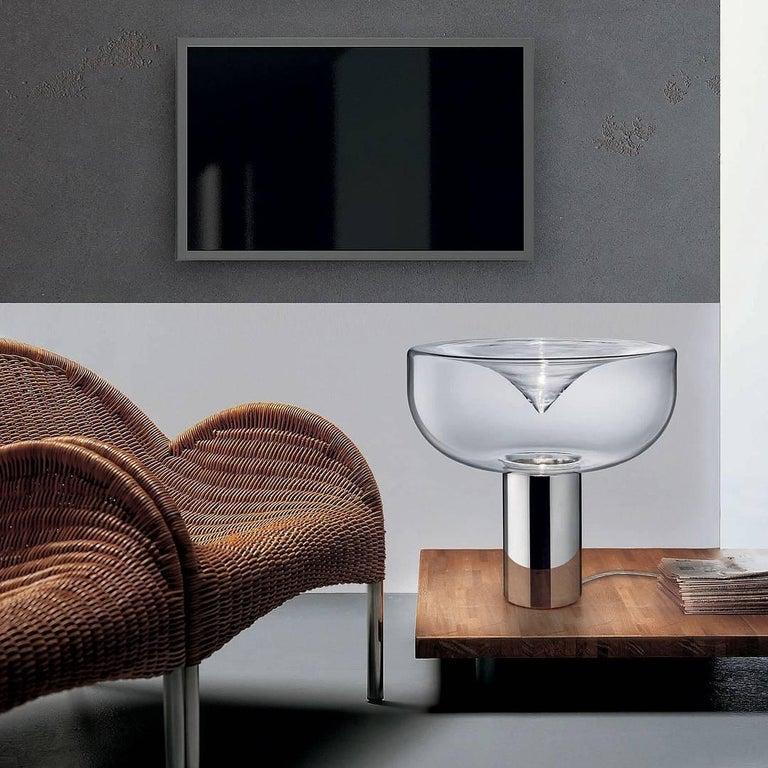 Modern Leucos Aella 1968 Table Lamp, Transparent/Chrome E26 For Sale