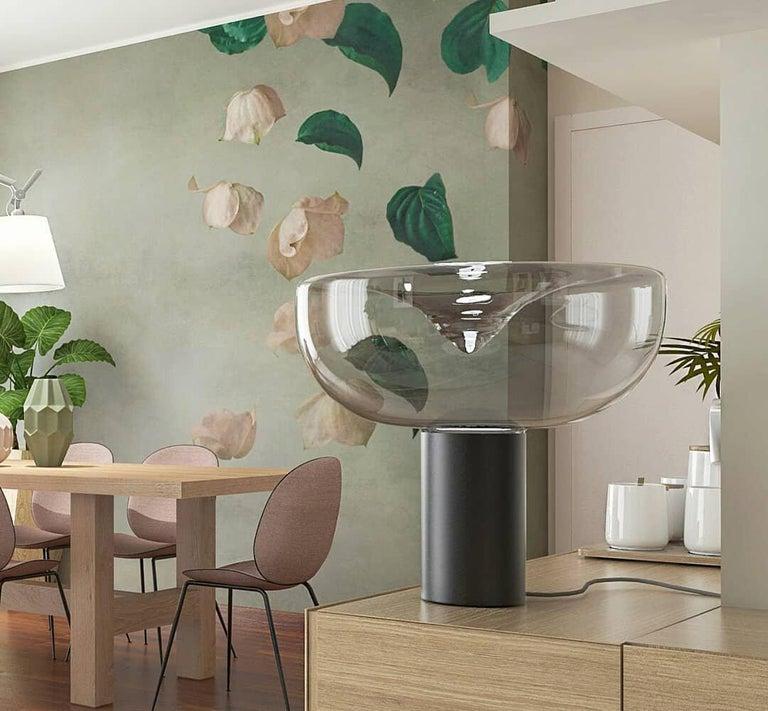 Italian Leucos Aella 1968 Table Lamp, Transparent/Chrome E26 For Sale