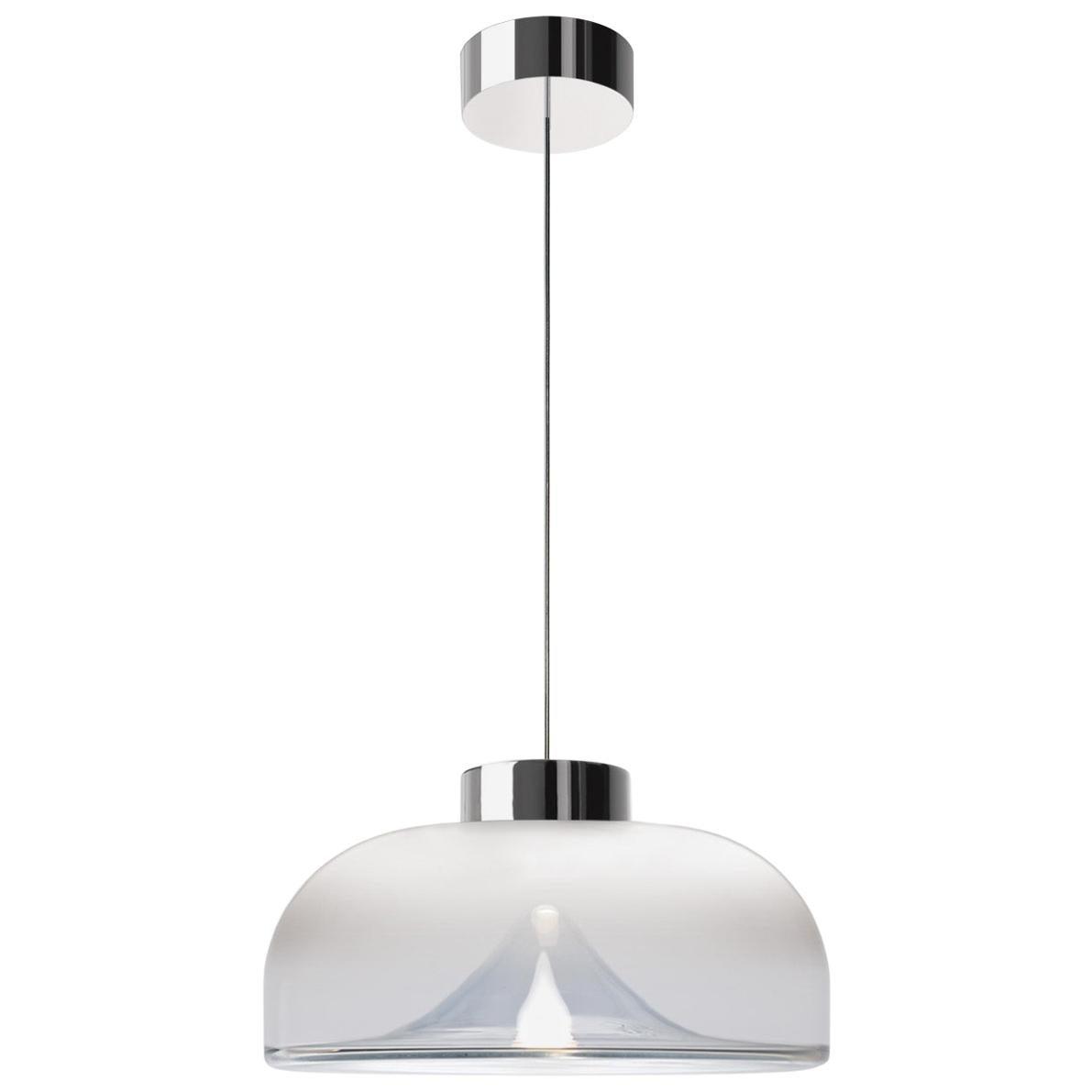 Leucos Aella Mini LED Pendant Lamp, White Sfumato/Chrome
