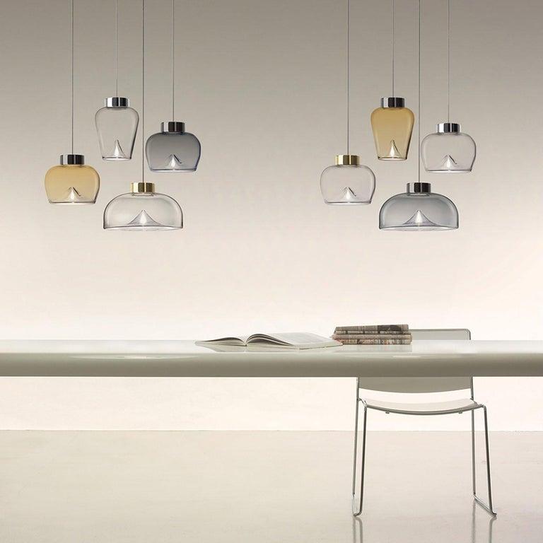 Modern Leucos Aella Mini LED Pendant Lamp, White Sfumato/Gunmetal For Sale
