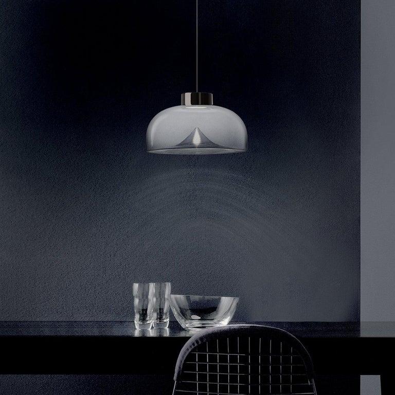 Italian Leucos Aella Mini LED Pendant Lamp, White Sfumato/Gunmetal For Sale