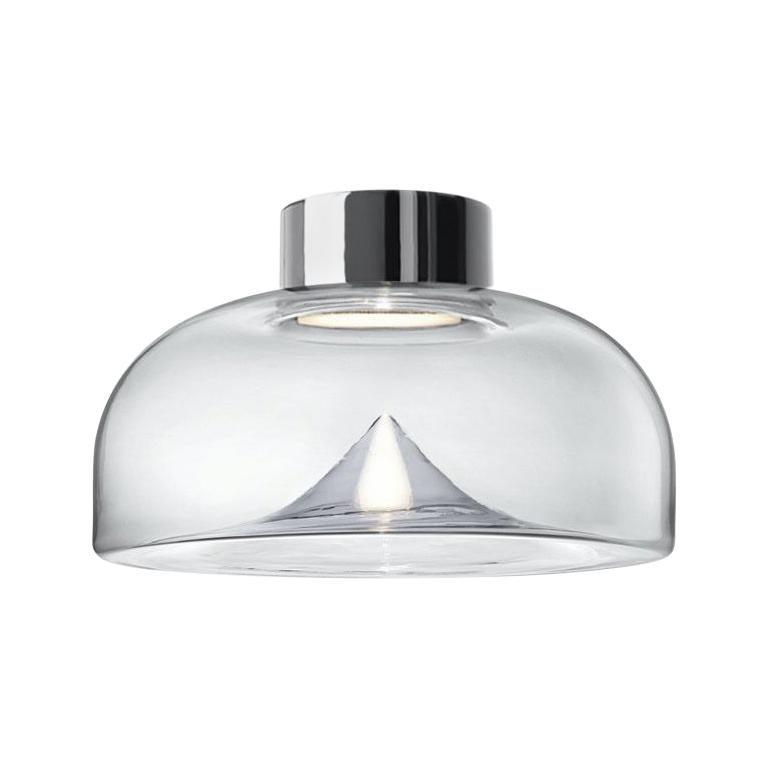 Leucos Aella Mini LED Wall/Ceiling Lamp, Transparent/Chrome For Sale