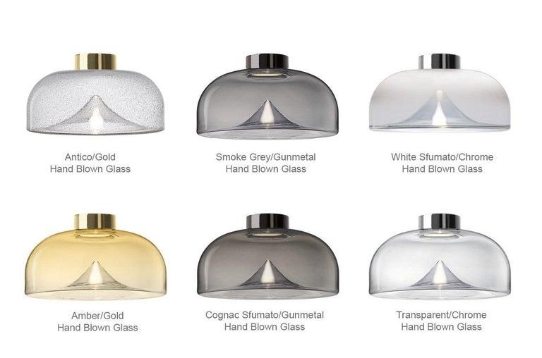 Italian Leucos Aella Mini LED Wall/Ceiling Lamp, Transparent/Gunmetal For Sale