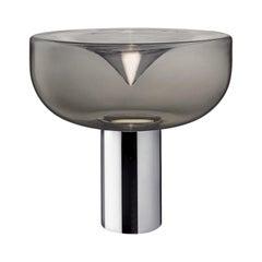 Leucos Aella Mini T 30 LED Table Light in Cognac and Chrome by Toso & Massari