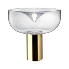 Leucos Aella Mini T 30 LED Table Light in Transparent and Gold by Toso & Massari