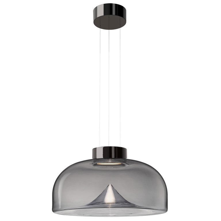 Leucos Aella S LED Pendant Light in Smoke Gray and Gunmetal by Toso & Massari For Sale