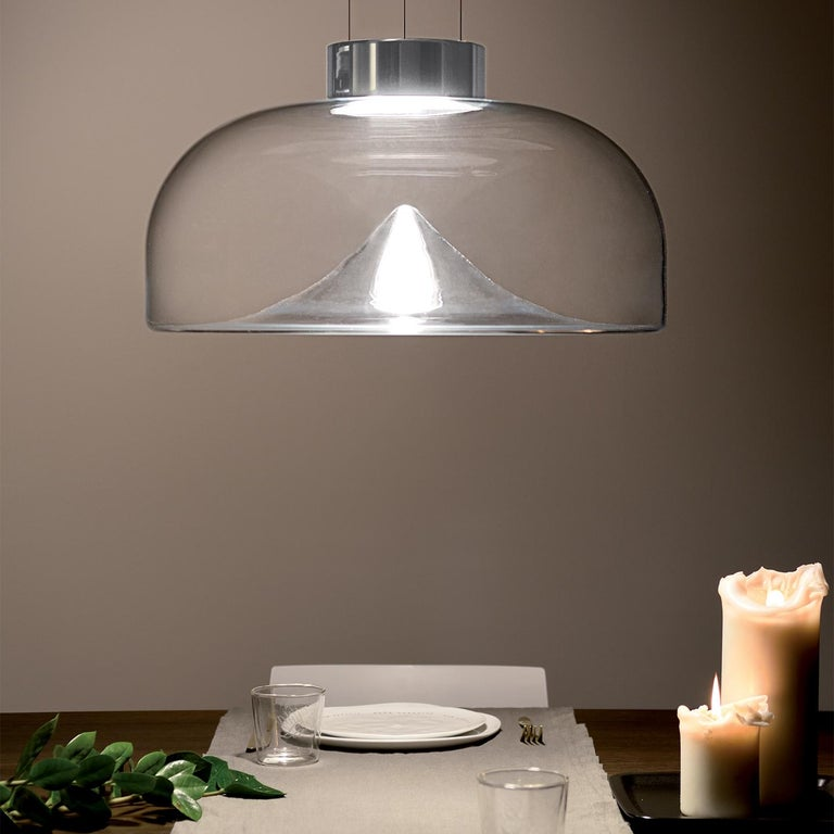 Contemporary Leucos Aella S LED Pendant Light in Transparent and Chrome by Toso & Massari For Sale