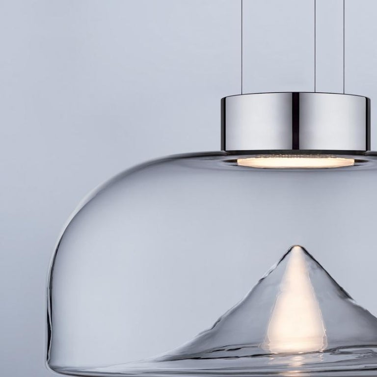 Leucos Aella S LED Pendant Light in Transparent and Chrome by Toso & Massari For Sale 1