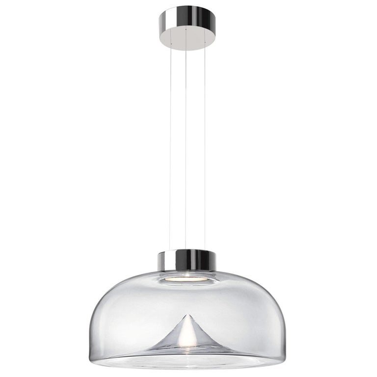 Leucos Aella S LED Pendant Light in Transparent and Chrome by Toso & Massari For Sale