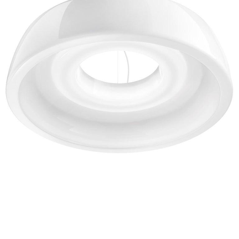 Modern Leucos Axel S LED 3000K Pendant Light in Glossy White by Steven Haulenbeek For Sale