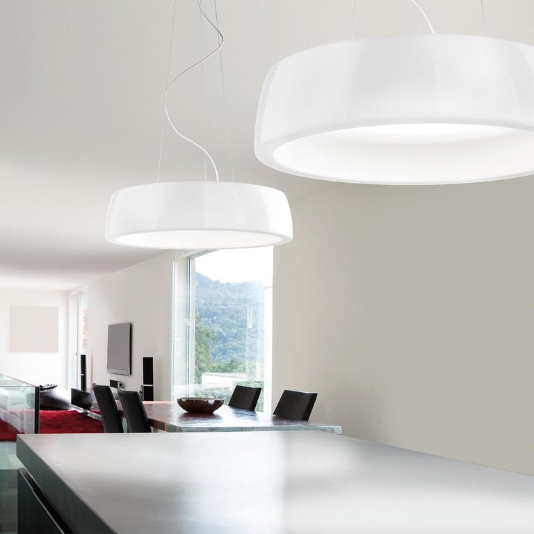 Italian Leucos Axel S LED 3000K Pendant Light in Glossy White by Steven Haulenbeek For Sale