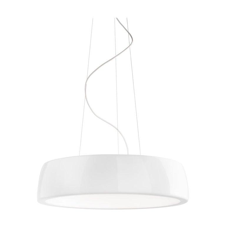Leucos Axel S LED 3000K Pendant Light in Glossy White by Steven Haulenbeek For Sale
