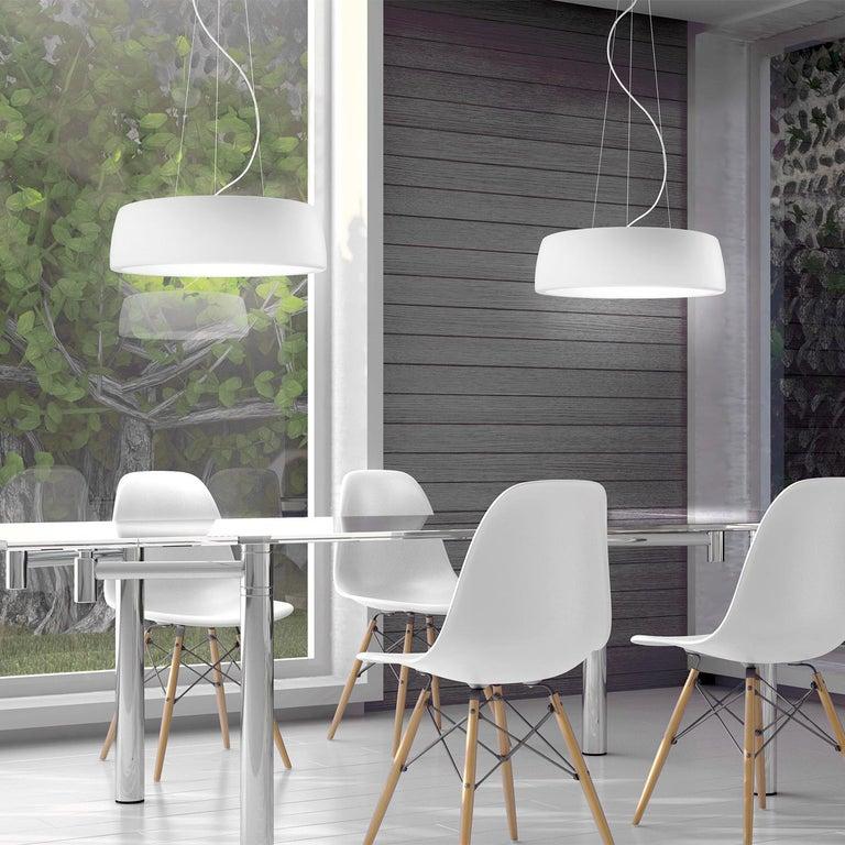 Italian Leucos Axel S LED 3000K Pendant Light in Matte White by Steven Haulenbeek For Sale