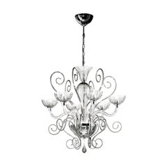 Leucos Bolero L6 Chandelier in Crystal and Chrome by Carlo Nason