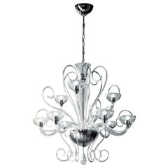 Leucos Bolero L9 Chandelier in Crystal and Chrome by Carlo Nason