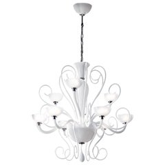 Leucos Bolero L9 Chandelier in Glossy White and Chrome by Carlo Nason