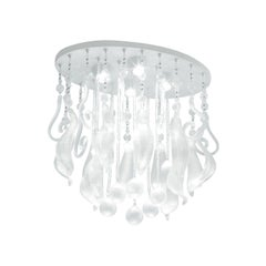 Leucos Cubi P-PL 16 Flush Mount in Satin White and Gray by Design Lab
