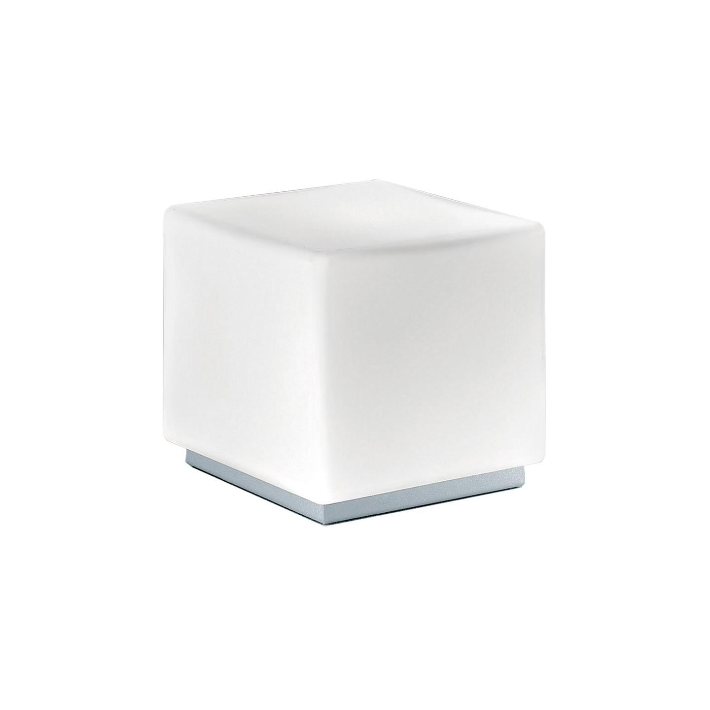 Leucos Cubi T 16 Table Light in Satin White and Gray by Design Lab