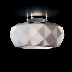 Leucos Deluxe PL 50 LED Flush Mount in Satin White and Chrome by Archirivolto