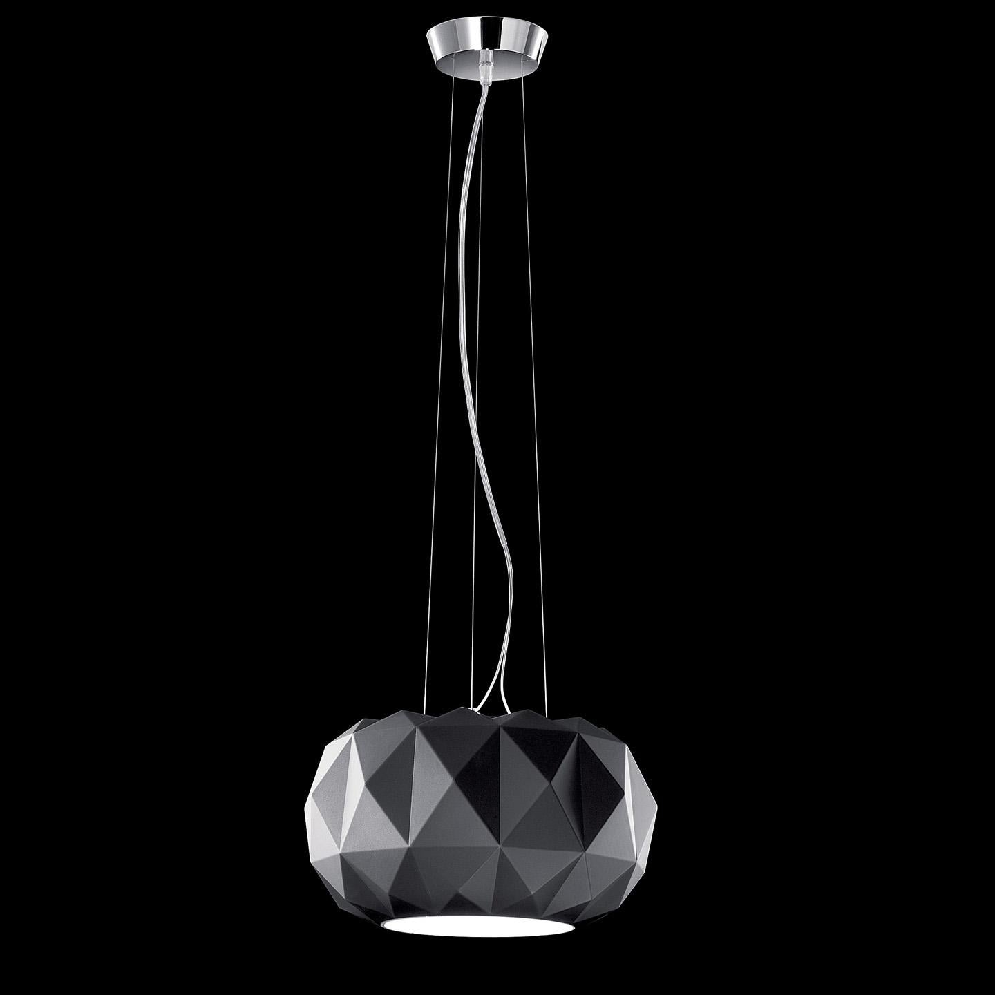Leucos Deluxe S 35 LED Pendant Light in Matte Black and Chrome by Archirivolto