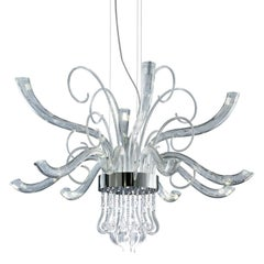 Leucos Elysee L 18 LED Chandelier in Crystal and Chrome by MariToscano