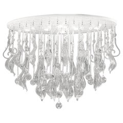 Leucos Elysee PL 100 Ceiling Light in Crystal, Silver and White by MariToscano