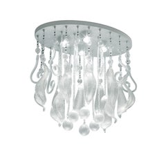 Leucos Elysee PL 60 Ceiling Light in Crystal, Silver Leaf & White by MariToscano