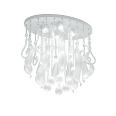 Leucos Elysee PL 60 Ceiling Light in Crystal and White by Marina Toscano