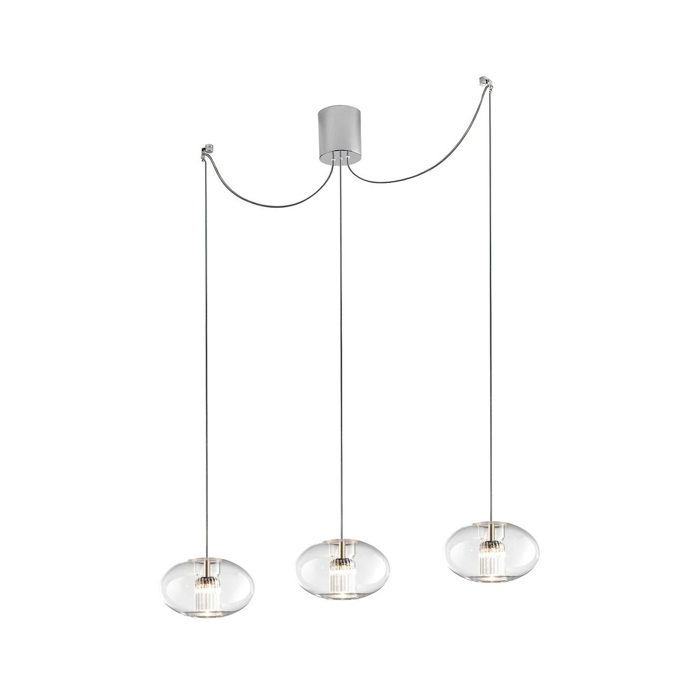 Leucos Fairy S G-D3 LED Multipoint Pendant Light in Transparent and Chrome