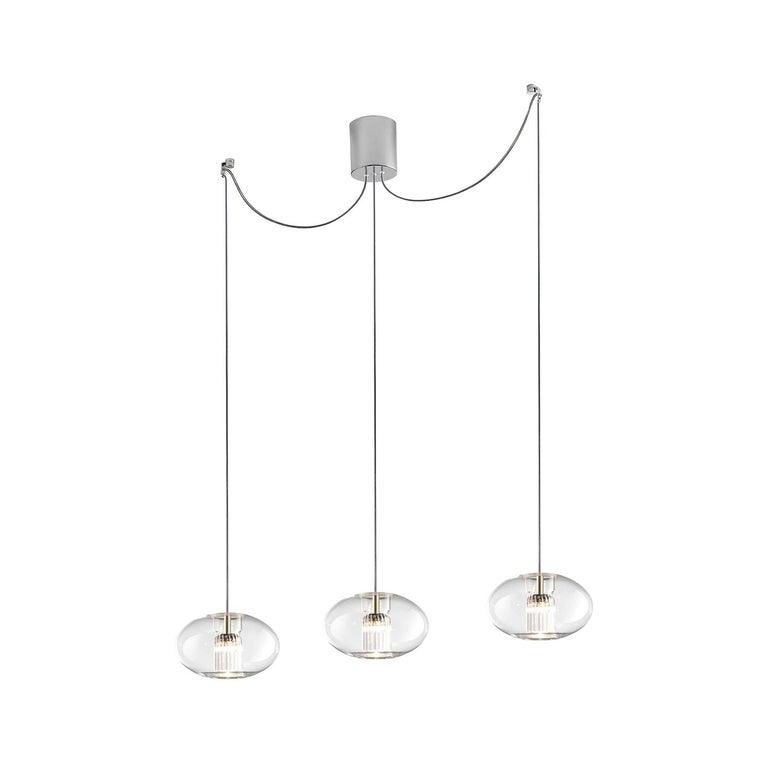 Leucos Fairy S G-D3 LED Multipoint Pendant Light in Transparent and Chrome For Sale