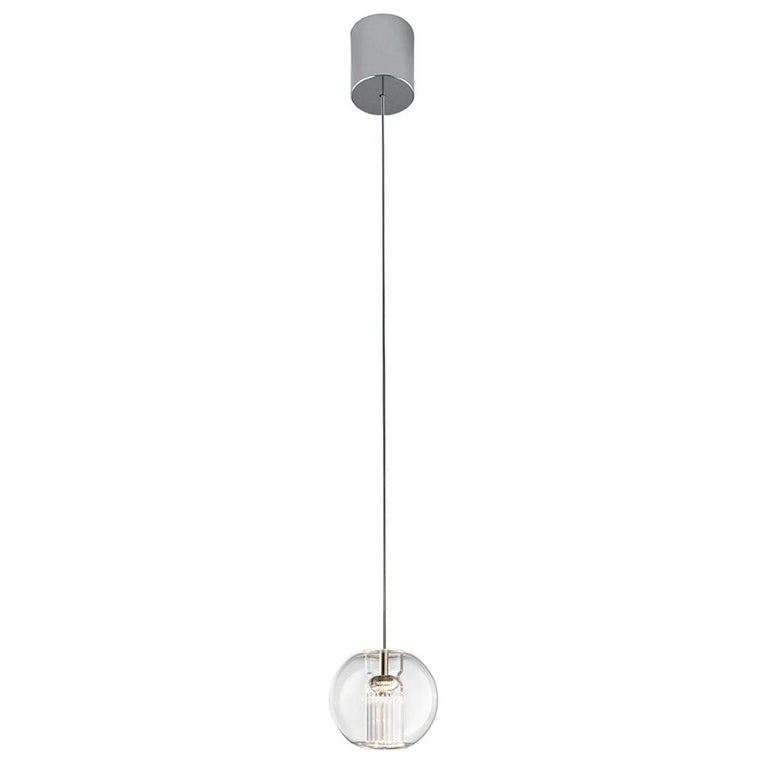 Leucos Fairy S S LED Pendant Light in Transparent and Chrome For Sale