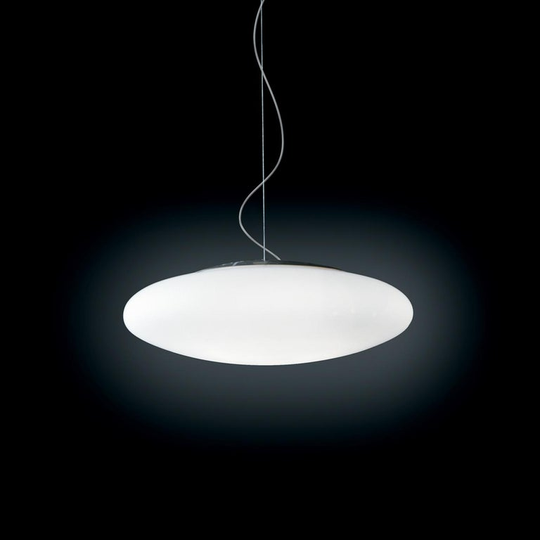Modern Leucos Felix S 55 Pendant Light in Satin White and Gray by Design Lab For Sale