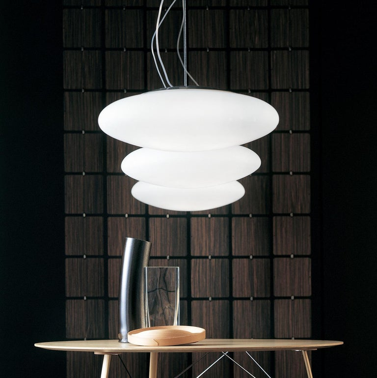 Italian Leucos Felix S 55 Pendant Light in Satin White and Gray by Design Lab For Sale