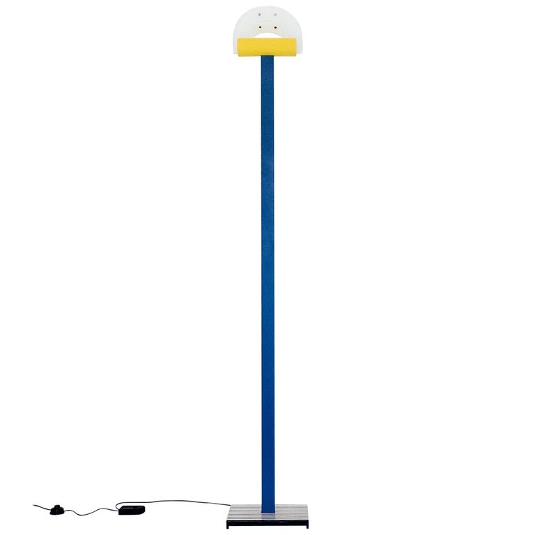 Leucos Floor Lamp with Vetri Murano Glass Shade Customized in Memphis Colors For Sale