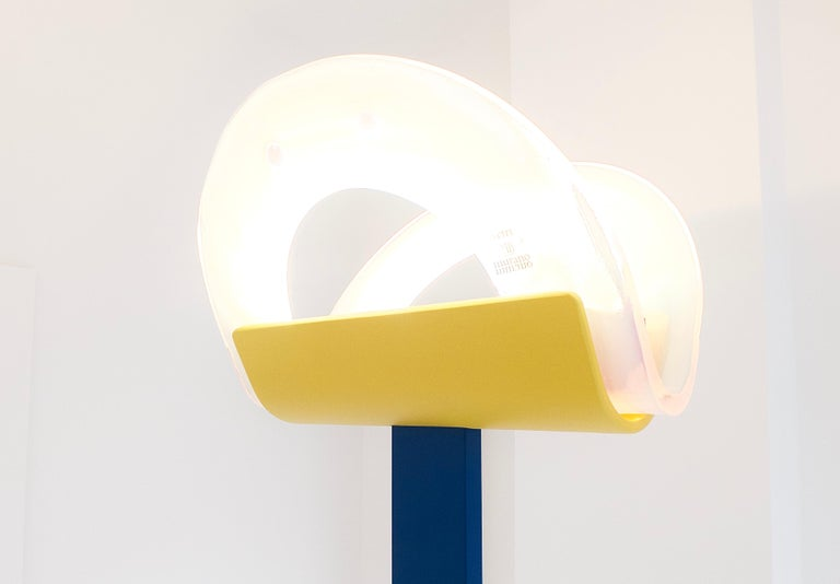 Leucos Floor Lamp with Vetri Murano Glass Shade Customized in Memphis Colors For Sale 6
