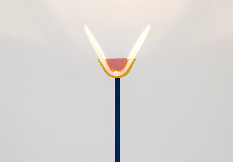 Leucos Floor Lamp with Vetri Murano Glass Shade Customized in Memphis Colors For Sale 8