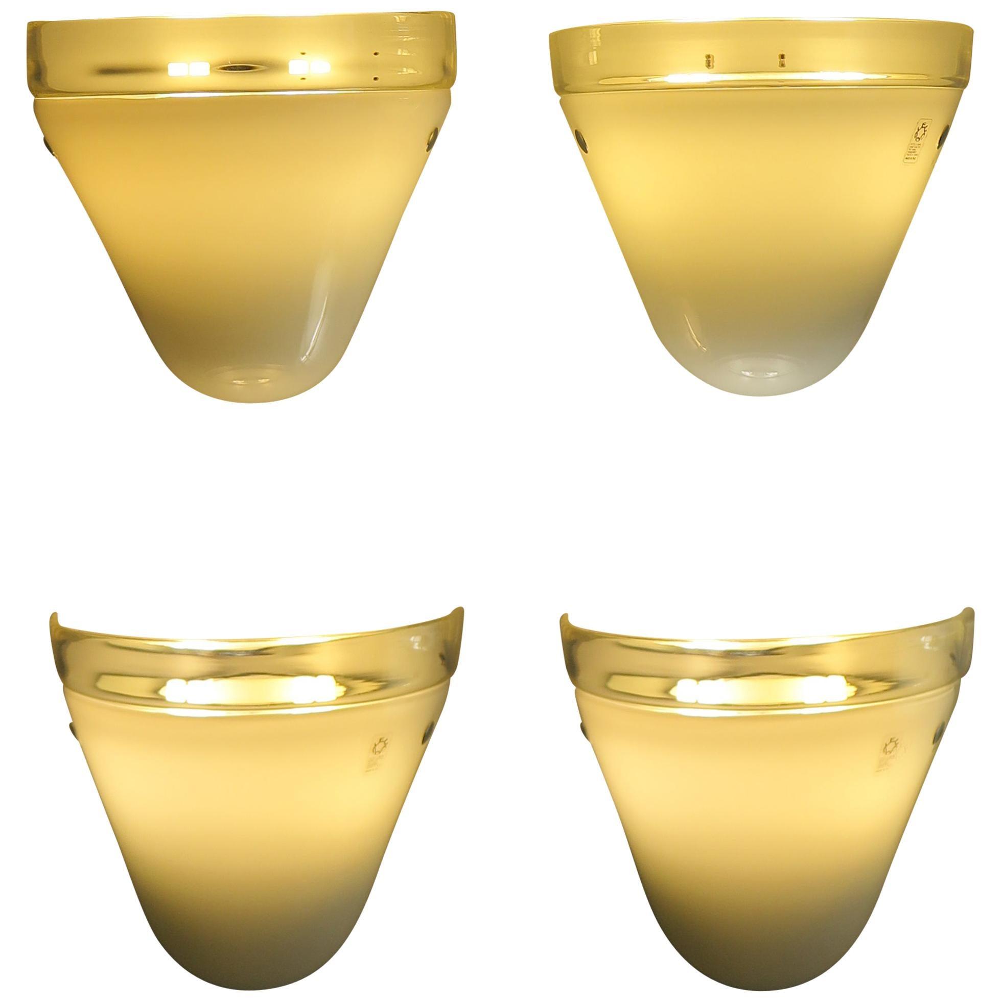 Leucos Italian Midcentury Murano Glass Sconces Wall Lamps, 1970s