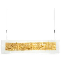 Leucos Laguna 75 Canal Pendant in Gold Leaf and White