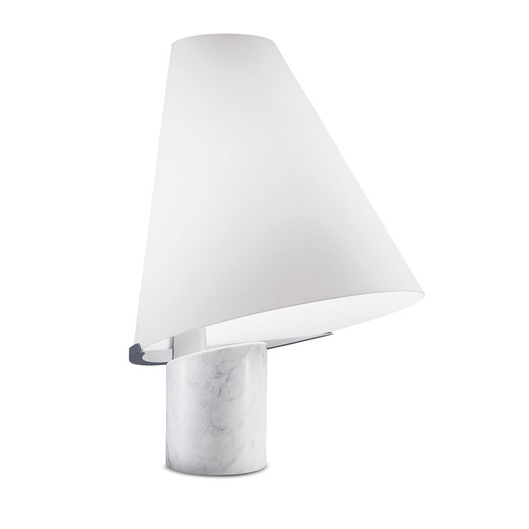 Leucos Micene T Table Light in White and Carrara by Toso, Massari & Associates For Sale