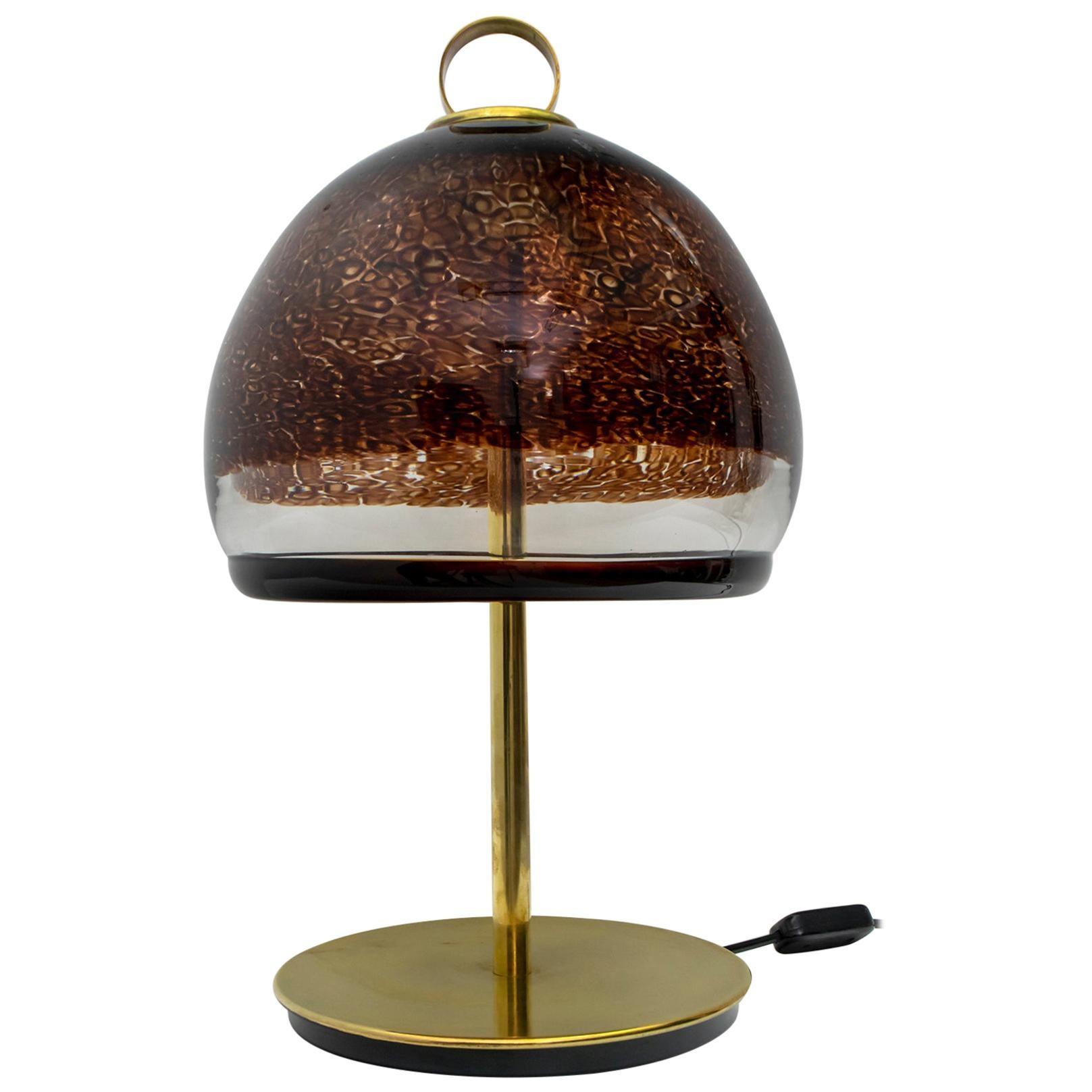 Leucos Mid-Century Modern Italian Murano Glass and Brass Table Lamp, 1970s