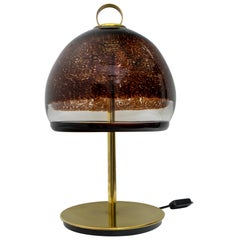 Leucos Mid-Century Modern Italian Murano Glass and Brass Table Lamp, 1970s